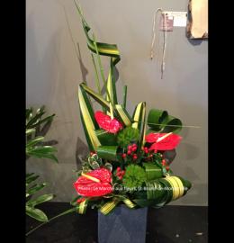 Composition florale moderne et recherchée, composée d'anthuriums rouges et de feuillages bouclés.