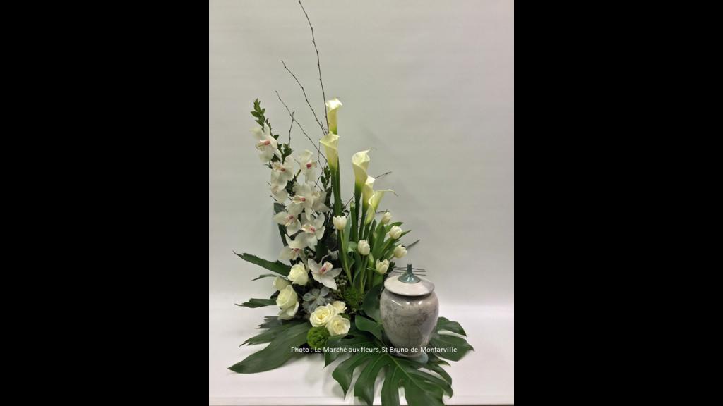 urne funeraire fleurs