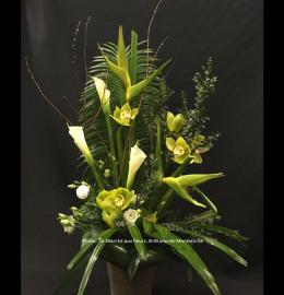 Création funéraire Bromont. Composition linéaire tout de blanc et de vert comprenant des héliconias, callas, cymbidiums, lisianthus et verdures variées. De 120$ à 160$.