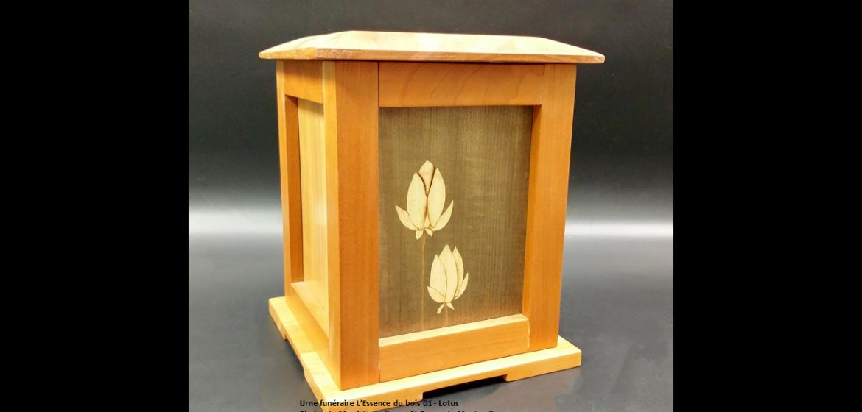 Urne pagode en cerisier - marqueterie Lotus (24 cm x 19 cm) - 380 $ Modèle EB 01