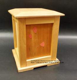 Urne pagode en merisier - marqueterie Coquelicots rouges (24 cm x 19 cm) - Modèle EB 03