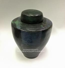 Urne en céramique bleu minuit et noire de style moderne - Modèle JD07