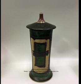 Urne en céramique vert forêt et beige de style zen - Modèle JD08