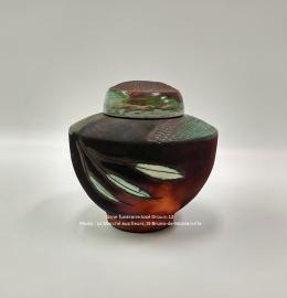 Urne en céramique rouille et vert-de-gris de style classique - Modèle JD12