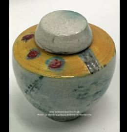 Urne de très petite taille en céramique jaune et grise - Modèle JD16
