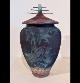 Urne en céramique rouille, noire et vert-de-gris de style asiatique (29 cm x 16 cm) - Modèle JD18