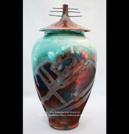 Urne en céramique aux tons rust et turquoise de style oriental (29 cm x 16 cm) - Modèle JD19